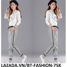 Quần Thun Nữ Jogger Baggy Thể Thao Thời Trang - BT Fashion QD004A (Xám - Sọc Phối Lưng)