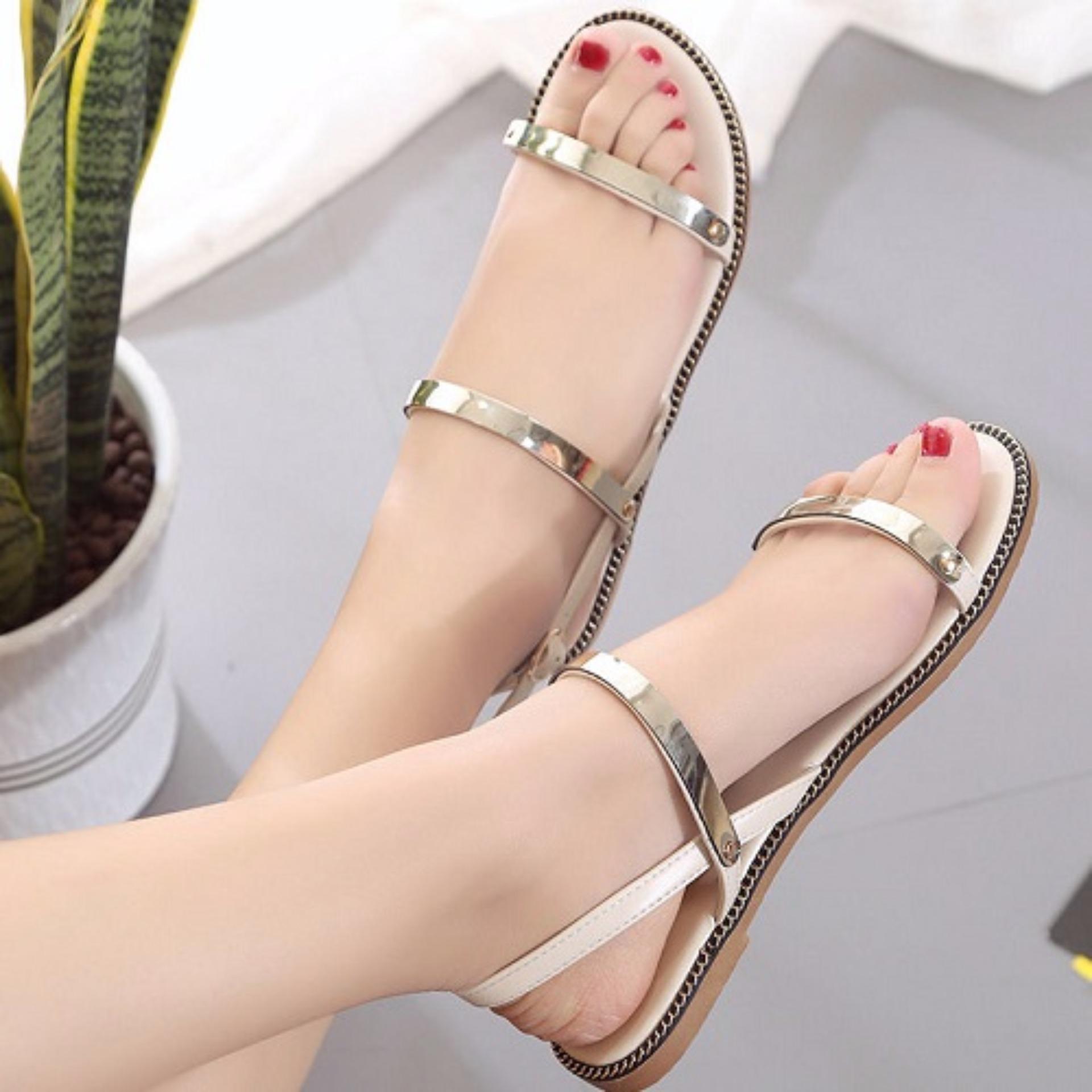 Sandal 2 quai ngang tán bạc 091 màu trắng