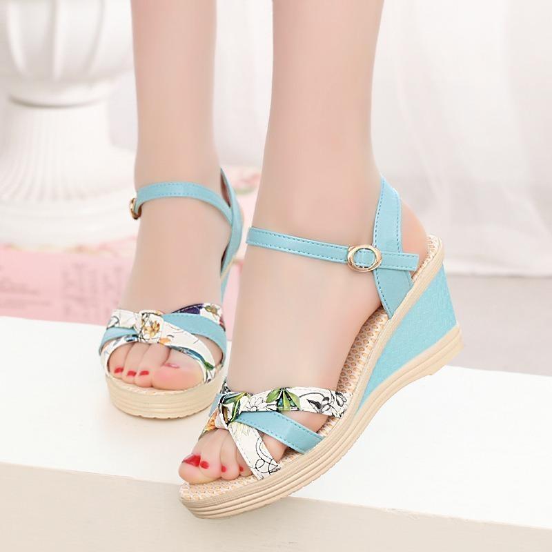 Sandal nữ cao cấp - Size 35 đến 39 - xanh da trời