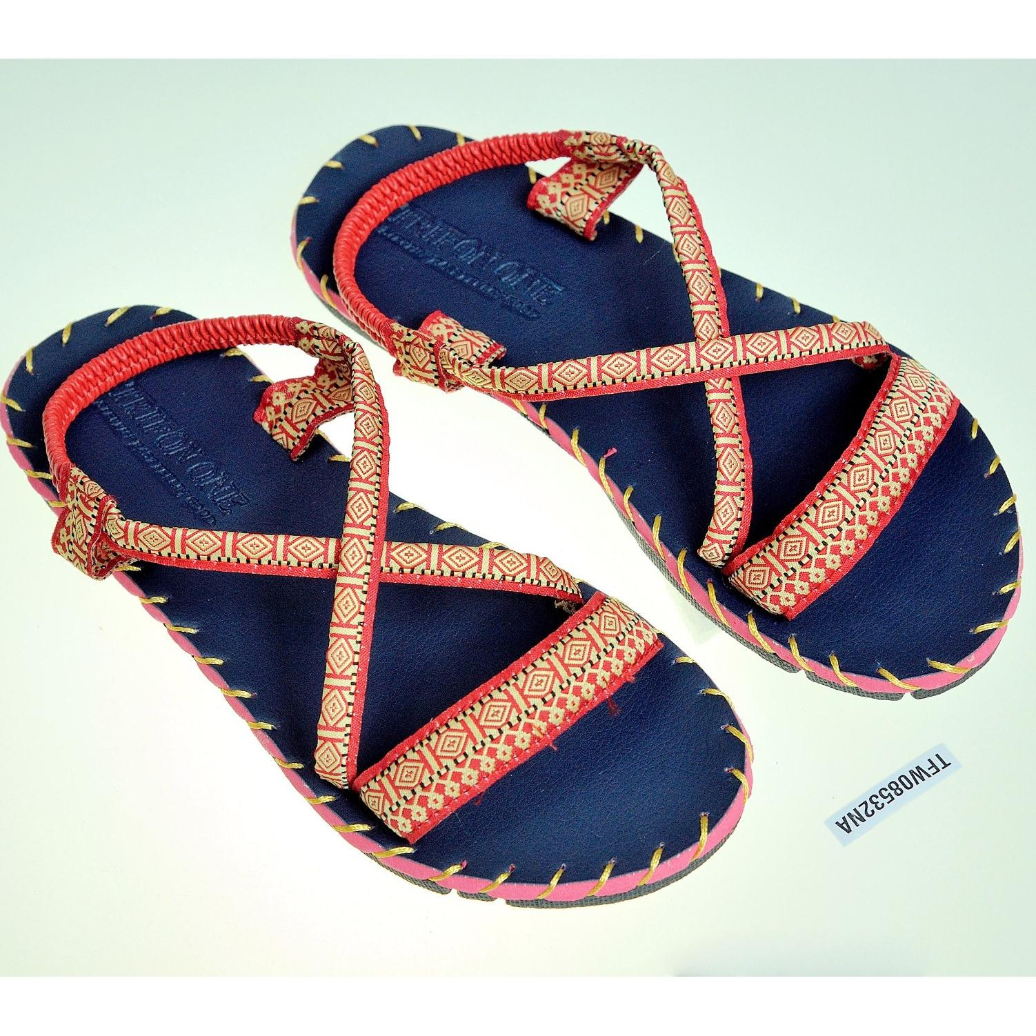 Sandal thổ cẩm nữ quai ngang (Xanh đen) TFW8532 #35