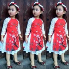Sét áo dài cách tân+váy phối ren điệu đà cho bé (số 5)Chipxinhxk