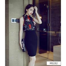 Mẫu sản phẩm Set áo yếm + chân váy ôm Misa Fashion MS282 / Đen