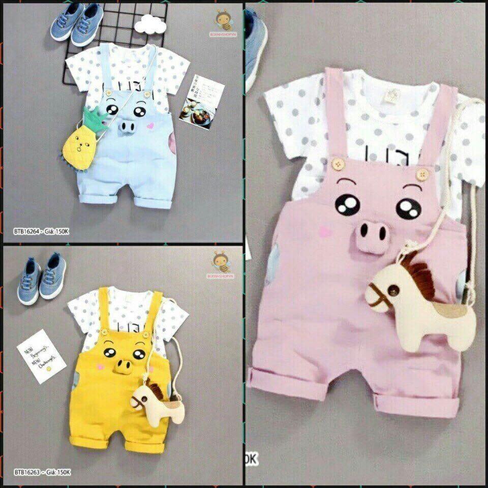 Sét áo Yếm hình chú lợn 100% cotton co dãn 4c cho bé 8-18kg
