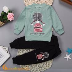 Set đồ bé gái bộ quần áo bé gái mùa thu GLSET010-Xanhngoc