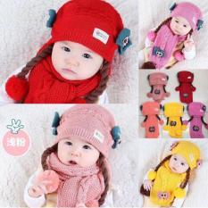 Set Mũ len tóc giả có khăn cho bé từ 6-24 tháng (đỏ)
