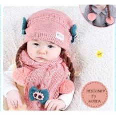 Set Mũ len tóc giả có khăn cho bé từ 6-24 tháng (hồng)