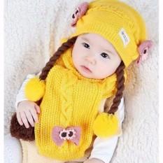 Set Mũ len tóc giả có khăn cho bé từ 6-24 tháng (vàng)