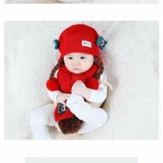 Mẫu sản phẩm Set Mũ len tóc giả có khăn cho bé từ 6-24 tháng(đỏ)