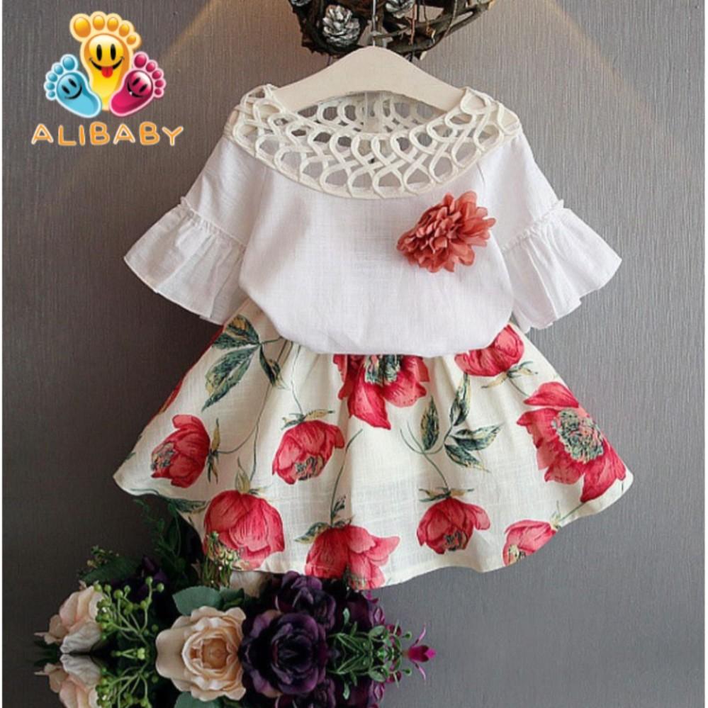 set váy mùa hè mát mẻ cổ cách điệu cho bé gái M18
