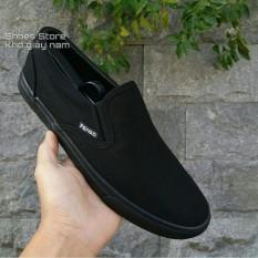 Slip on nam – Giày lười vải nam dáng classic – Mã SP 177 – Màu full (đen) và đen đế (trắng)