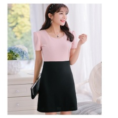 Spring and Summer New Style Plus-sized Korean-style Short-sleeved Wild Dress Female Fashion Slimming Effect Stitching Bottoming Dress – intl