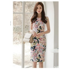 Summer New Korean Version of The Temperament Round Neck Slim Fashion Printed Sleeveless Package Hip Dress Long Section of Female Tide – intl