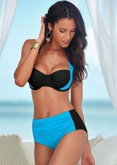 ZNPNXN Summer New Multi-Color Cross Bikini Split Color Increase Size Swimsuit