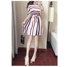 Summer New Style Women's Loose Chiffon Dress Stripe Neck Lace Skirt – intl