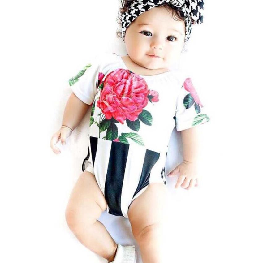 Summer Newborn Baby Girls Stripe Flowers Outfit Romper Jumpsuit Clothes Sunsuit intl