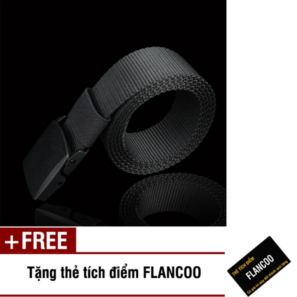 Thắt lưng nam vải bố khóa nhựa Flancoo S0641 (Dây đen) + Tặng kèm thẻ tích điểm Flancoo
