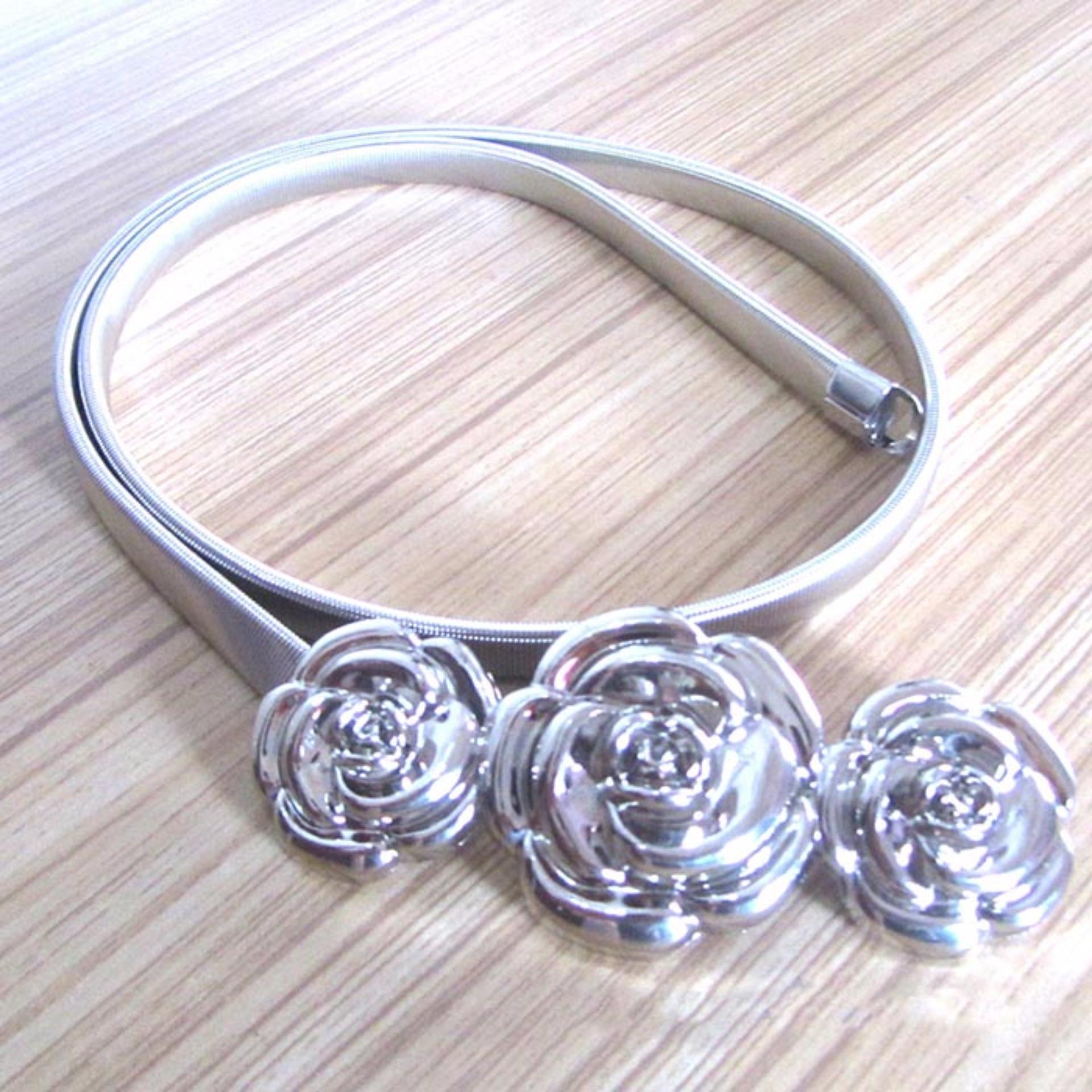 Thắt lưng nữ dây kim loại mặt hoa hồng (Bạc)