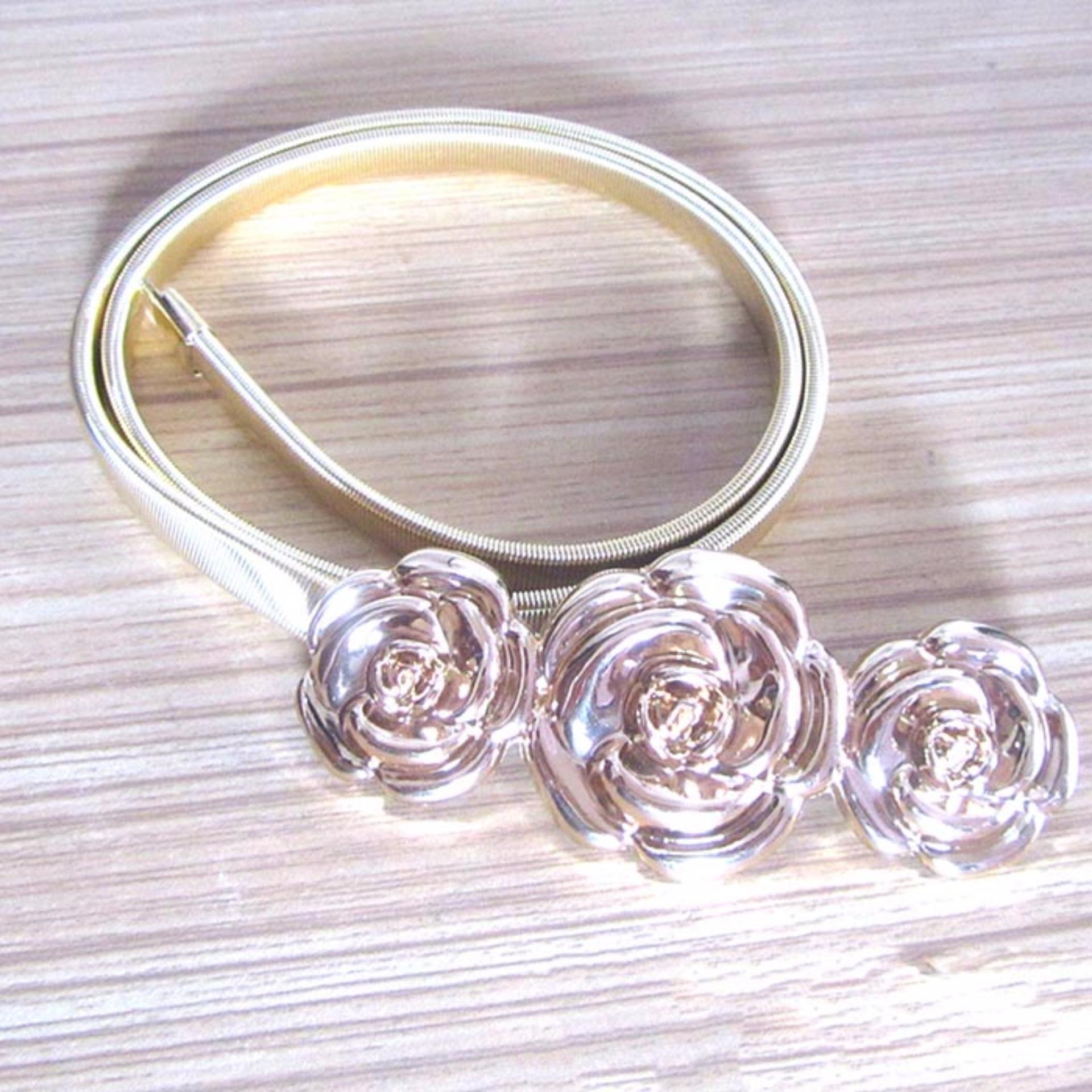 Thắt Lưng Nữ Kim Loại 3 Bông Hoa (Vàng)