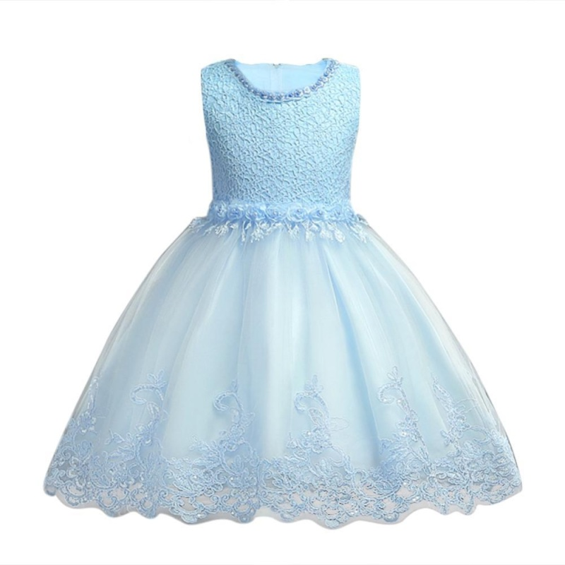 Giá bán Toddler Girls Baby Tutu Dress Flower Pearl Lace Mesh Dress for Wedding - intl