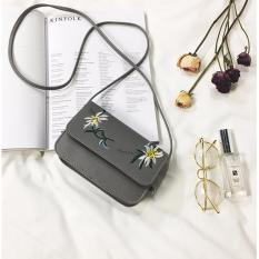 Túi da thêu hoa BERI (xám) – TUI027