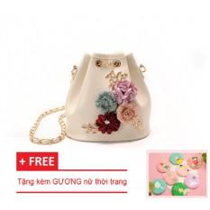 Túi đeo chéo da CAO CẤP, túi đeo vai nữ thời trang LAZA-61 ĐÍNH HOA HỒNG VÀ NGỌC (Trắng kem) + TẶNG 01 GƯƠNG cầm tay nữ thời trang