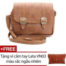 Túi đeo chéo LATA HN08 (Da bò nhạt) + Tặng 1 ví cầm tay Lata VN03