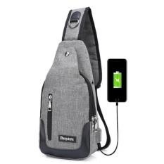 Túi đeo chéo nam cao cấp tích hợp cổng sạc USB ngoài (xám) + Tặng 1 Túi đựng bút K 335.