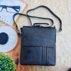 Túi Ipad da thật sunzin 909 – túi laptop đeo vai cao cấp bằng da bò 100% màu đen