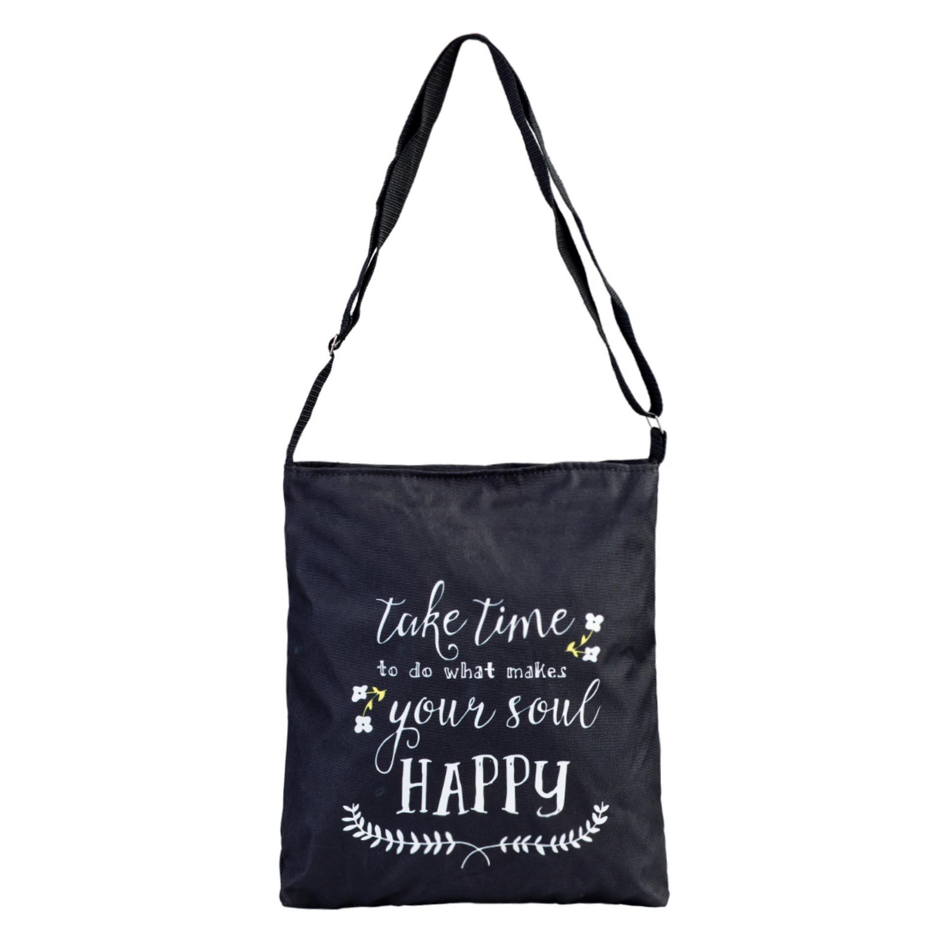 Túi Vải Tote Bag Có Dây Đeo Chéo Happy XinhStore