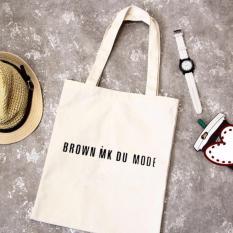 Túi Vải Tote Họa Tiết Brown Trắng Xinh Store