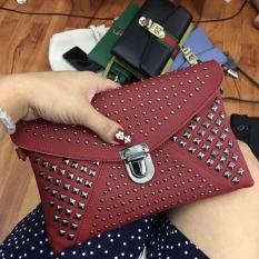 Túi ví clutch đinh cầm tay có dây đeo chéo (Đỏ)