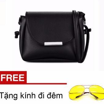 Túi xách nữ mini nẹp bầu thời trang ( Đen) & Tặng 1 kính đi đêm ...