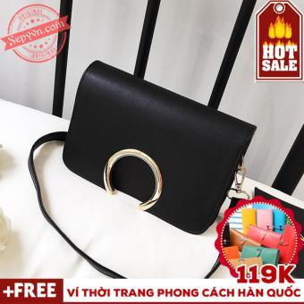 Túi Xách Thời Trang Nữ Nẹp Tròn Sepy TX014 Tặng Ví Nữ Thời Trang Phong Cách Hàn Quốc trị giá 119k