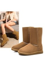 Unisex Winter Warm Snow Half Boots Shoes 6 Colors (Khaki)