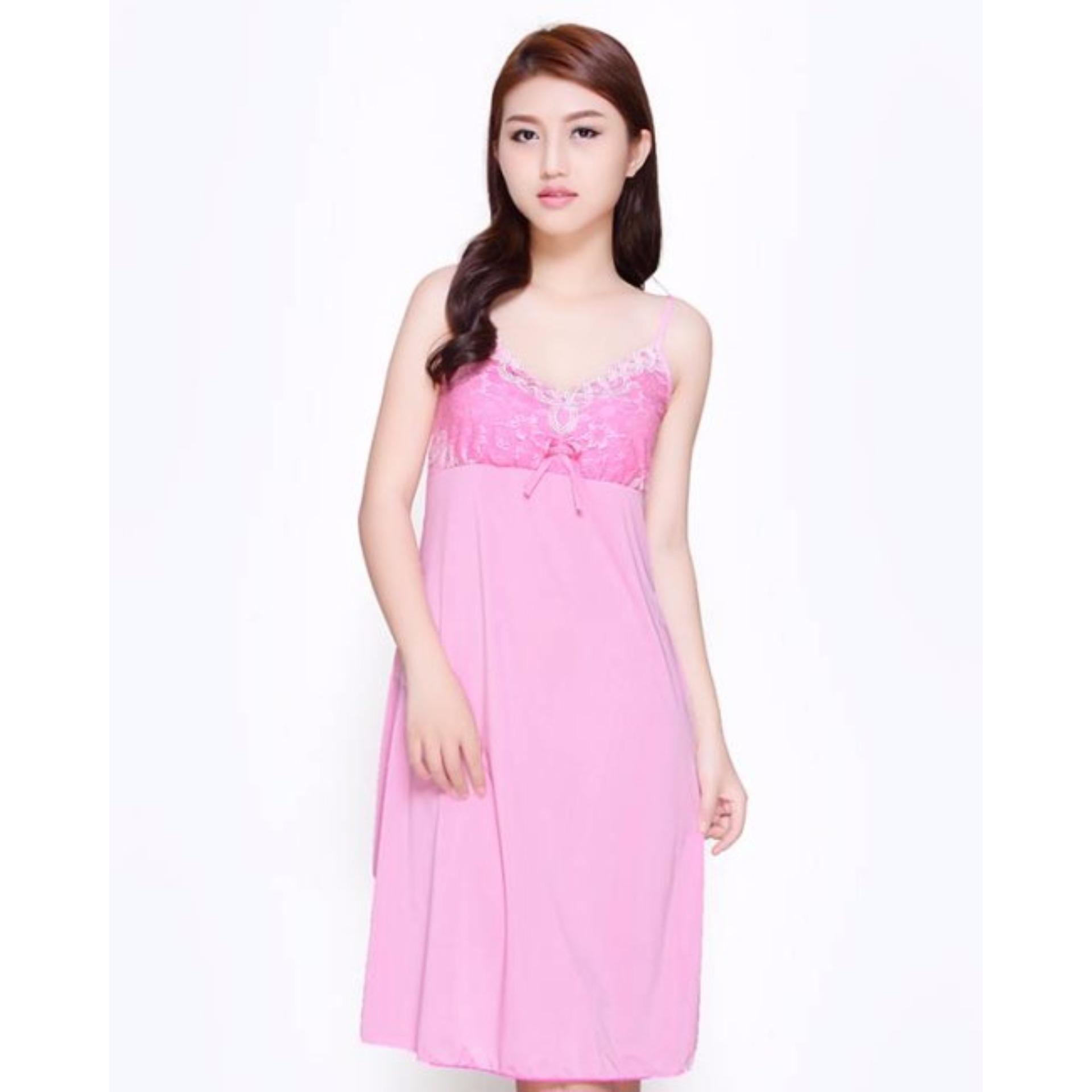 Váy ngủ 2 dây phối ren sexy siêu mát VRN250 (hồng)