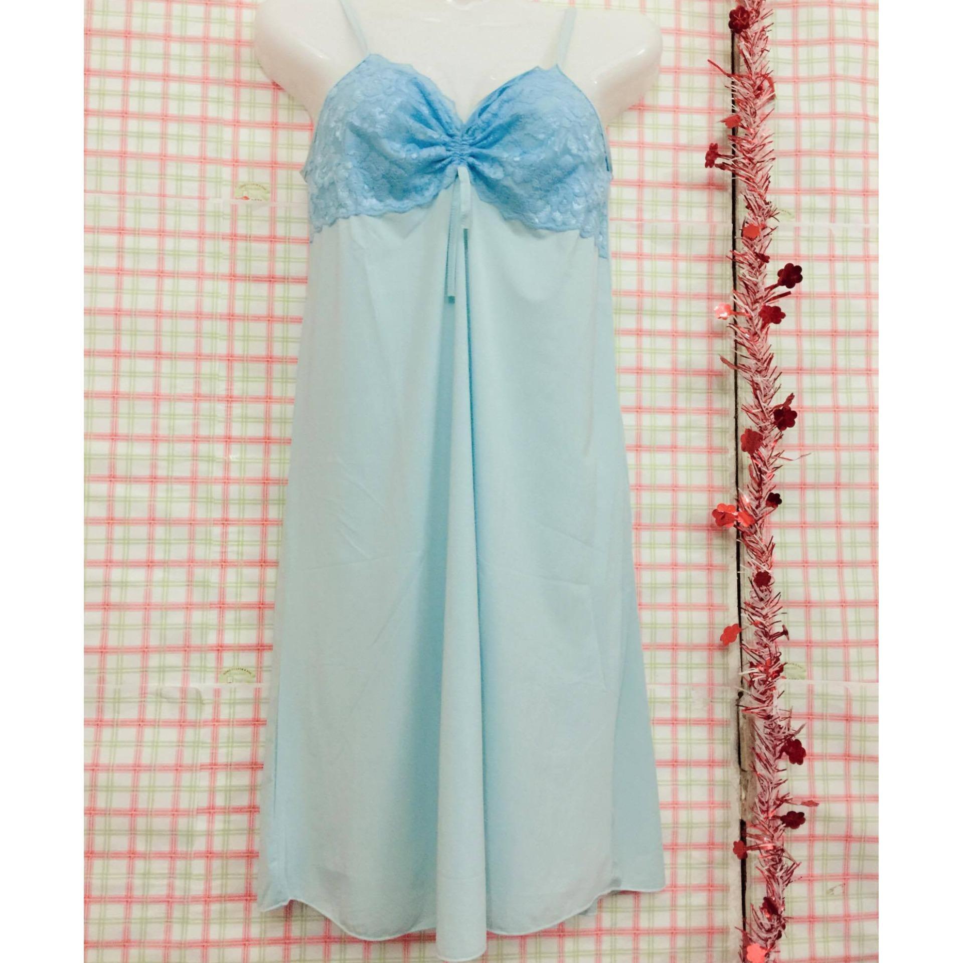 Váy ngủ 2 dây phối ren sexy siêu mát VRN250 (xanh)