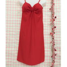 váy ngủ 2 dây thun lạnh phối ren sexy-VN201 (đỏ)