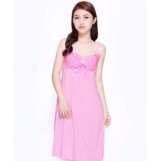 váy ngủ 2 dây thun lạnh phối ren sexy-VN202 (hồng)