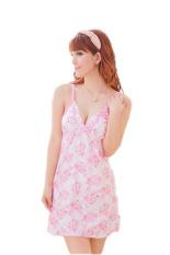 Váy ngủ dây hoa nhỏ Huy Kiệt V009 ( Trắng phối hồng)