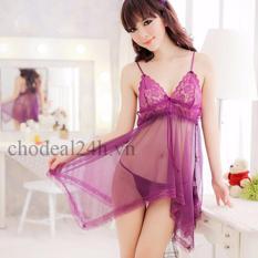 Váy ngủ Sexy Voan mỏng đệm Ren Chodeal24h.vn (tím)