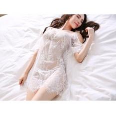 Váy ngủ trắng ren tay lở trễ vai CDAN40 Chodeal24h – Trắng – Hàng cao cấp Size XL