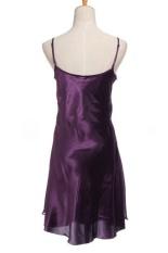 Velishy Lụa Phối Ren Voan Váy Ngủ Áo Choàng (Tím)-quốc tế