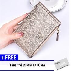 Ví cầm tay nữ da PU thời trang Latoma S1612 (Vàng) + Tặng kèm thẻ ưu đãi Latoma