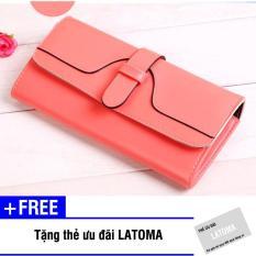 Ví cầm tay nữ da PU thời trang Latoma S1953 (Hồng) + Tặng kèm thẻ ưu đãi Latoma