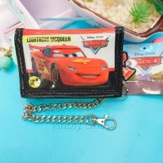 Bóp ví đựng tiền xếp gọn mở 3 mặt chiếc xe hơi MCQueen màu đen trắng đỏ có dây xích móc bạc dành cho bé trai (Thái Lan) – CRNG0001 (12x2x8.5cm)