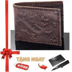 Ví nam da bò thật 100% chạm Rồng nổi Ancom GL V999 Sang trọng đẳng cấp (Da bò Nâu đen) + Tặng dao ATM bỏ vào vừa ví da bò