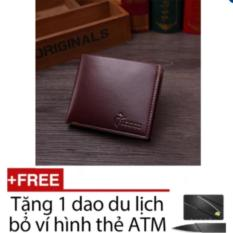 Ví nam thời trang đẹp (NÂU) + Tặng dao ATM bỏ vào ví