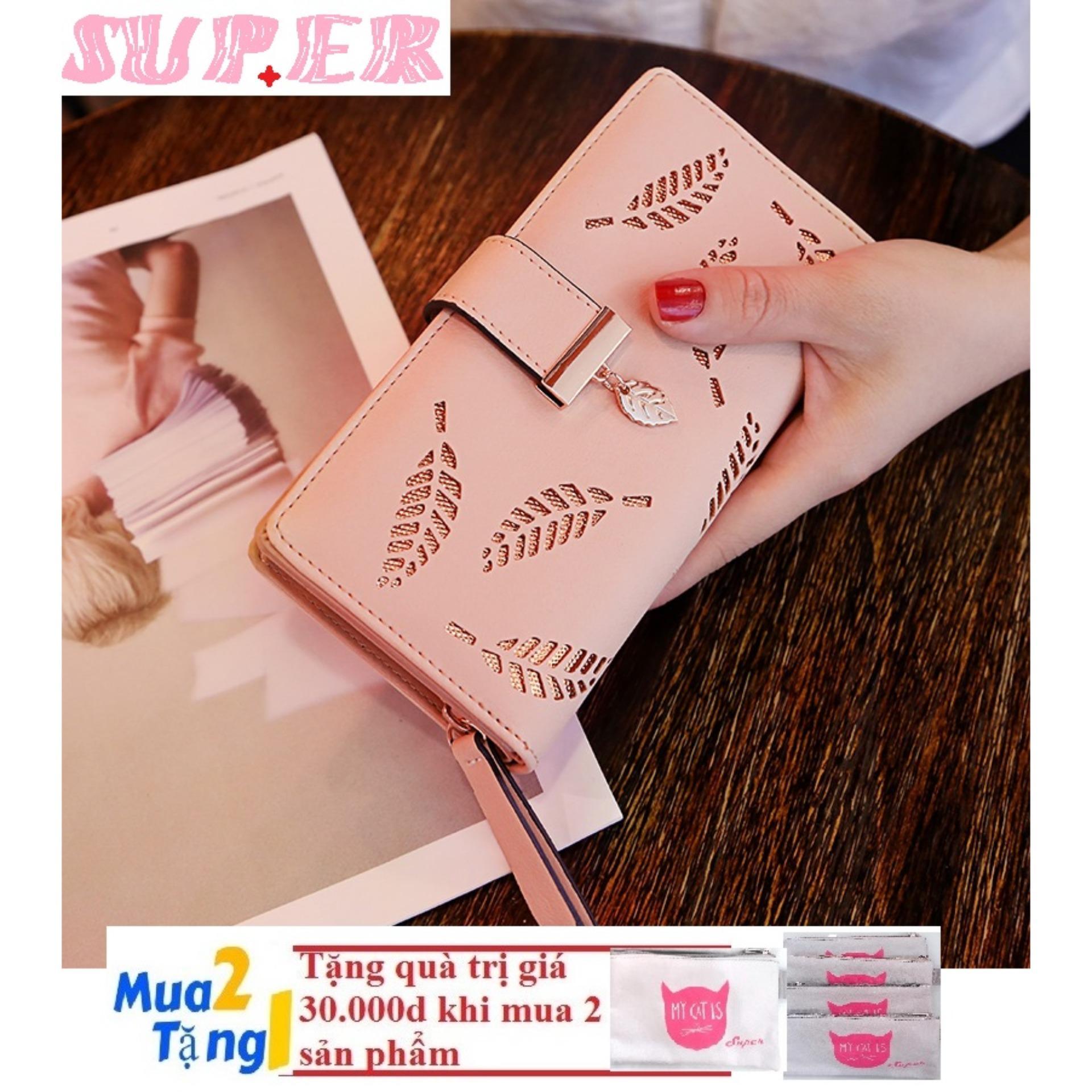 Giá bán Ví Nữ Da chiếc lá SUPER2(PINK)+KÈM QUÀ MUA 2 SP