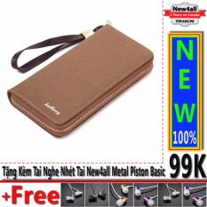 Ví nữ New4all BLD6 tiện ích – Bóp cầm tay doanh nhân sang trọng vải nhung (20X11X3 cm) + Tặng 01 tai nghe New4all Piston Basic