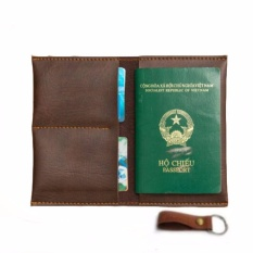 Ví Passport Đựng Hộ Chiếu (Nâu Đậm) – Tặng Móc Khóa Da